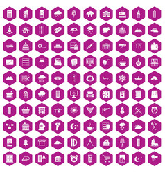 100 windows icons hexagon violet vector