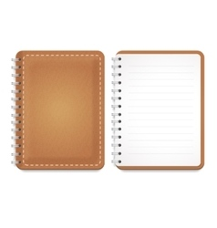 a leather notebook with spiral vector image