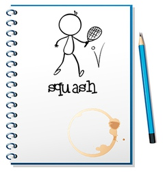 A notebook with a drawing of a person playing vector image