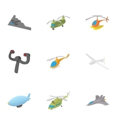 Aircraft icons set cartoon style vector