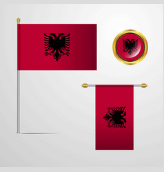 Albania waving flag design with badge vector