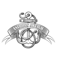 anchor aweigh tattoo emblem vector image