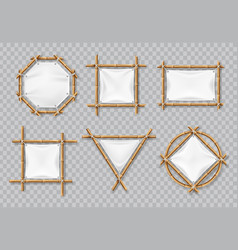 bamboo frames with white canvas chinese bamboo vector image