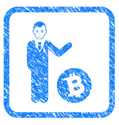 bitcoin businessman framed stamp vector image