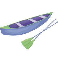 Blue and green canoe vector