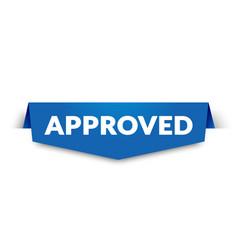 blue approved label for web shop vector image