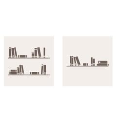 Books on the shelf simply retro set vector