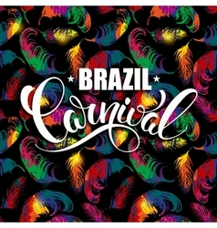 Brazil carnival lettering design on a bright vector