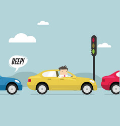 Businessman on the road with traffic jam vector