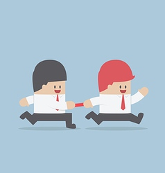 Businessman passing baton to the other in relay ra vector