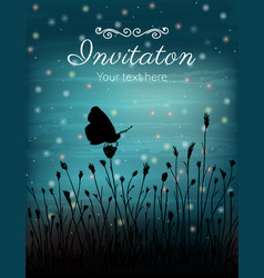 Butterfly and flowers on sunset vector