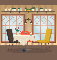 cafe interior view with coffee nobody place vector image