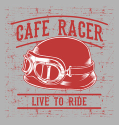 cafe racer biker helmet with inscription live to vector image