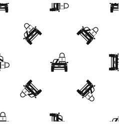 car with padlock pattern seamless black vector image