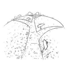 cartoon path or way forward and branching vector image