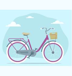 cartoon retro vintage bicycle with travel basket vector image