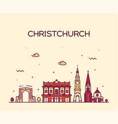 Christchurch city skyline new zealand line vector