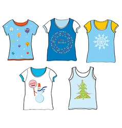 Christmas t-shirt set vector