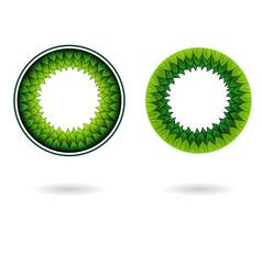 circle inner leaves frame set vector image