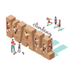 Climbing wall isometric background vector