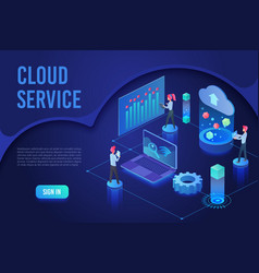 cloud service landing page isometric vector image