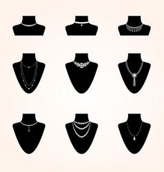 Collection of jewerly icons vector
