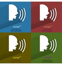 Color set talking Flat modern web button with long vector image
