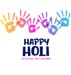 Colorful hands impression for holi festival vector