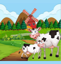 Cow in farmland vector