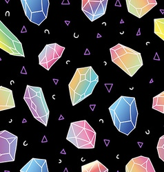 Crystal seamless pattern 80s colorful background vector
