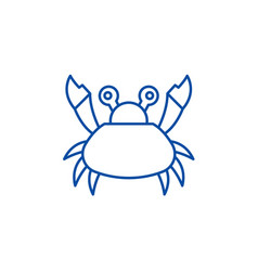 cute crab line icon concept cute crab flat vector image