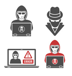 Cyber crime with set logos hacker spy vector