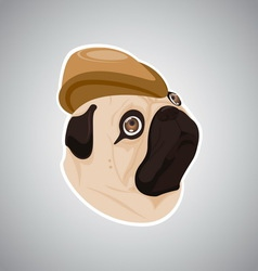 Dog brown hat vector