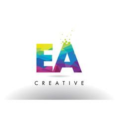 Ea e a colorful letter origami triangles design vector