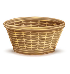 Empty wicker basket without handles vector