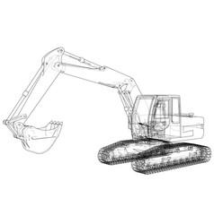 Excavator concept outline vector