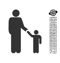 Father with son icon with job bonus vector