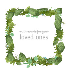 festive square watercolor frame from foliage vector image