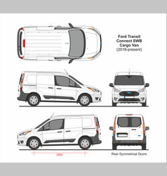 Ford transit connect swb cargo van 6 doors 2018 vector