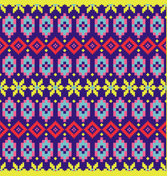 Geometric folk seamless pattern colorful pixelated vector
