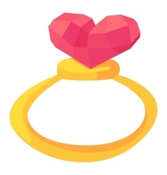 Gold ring with pink heart gemstone icon vector