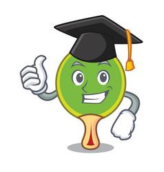 Graduation ping pong racket character cartoon vector