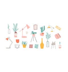 home decor elements hand drawn set vector image