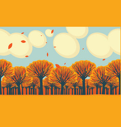horizontal frieze with yellowed fall trees vector image