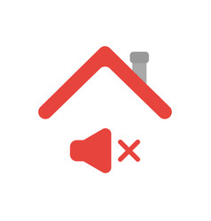 Icon concept of sound off symbol under house roof vector