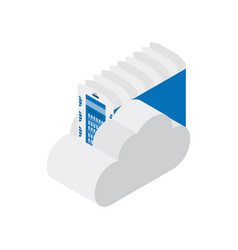 isometric data center with cloud on white vector image