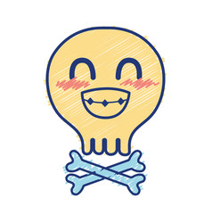 Kawaii cute funny skull with bones vector
