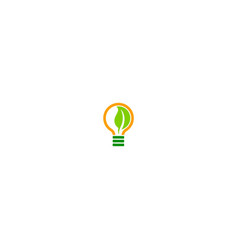 lightbulb green leaf eco logo vector image
