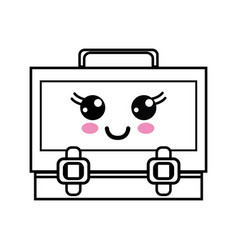 Line kawaii cute happy suitcase design vector
