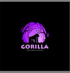 Logo gorilla night silhouette style vector